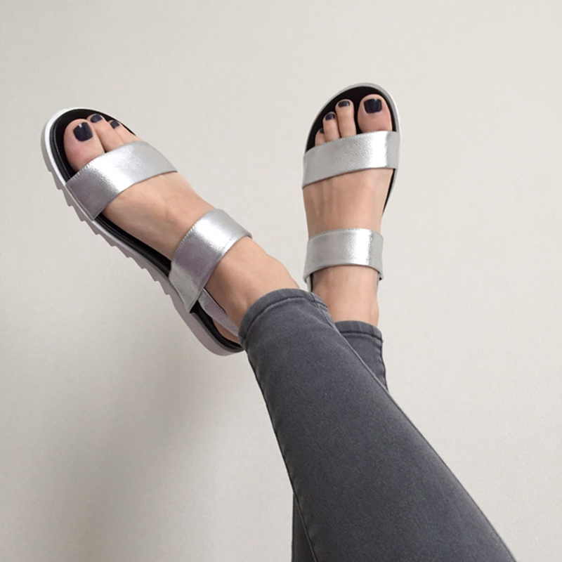 e04d74e0d388 IRIS Flat Sandals Silver Women Casual Comfortable Soft Leather Buckle Back  Strap Sandalias New Summer Russian Size -in Low Heels from Shoes on ...