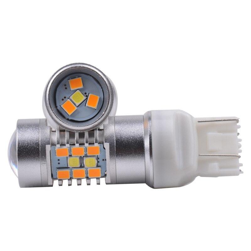 2шт светодиодная Т20 7443 двойной Цвет 2835+чип 3030 28SMD светодиодные лампы белого + желтый двойной Цвет Горки светодиодные лампы