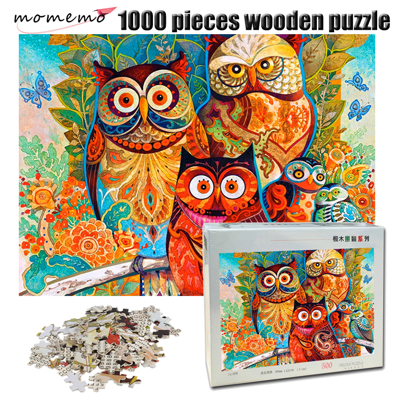 MOMEMO Owl Family Puzzle 1000 Pieces Wooden Adult Jigsaw Puzzle Color Abstract Painting Puzzle for Children Educational Toy Gift