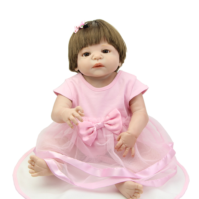 Brown Eyes 23 Inch Full Body Silicone Vinyl Baby Girls Reborn Babies Dolls Kids Birthday Xmas