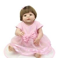 Brown Eyes 23 Inch Full Body Silicone Vinyl Baby Girls Reborn Babies Dolls Kids Birthday Xmas Gift Free Magnet Pacifier Dummy