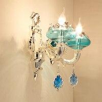 Роскошные серебряный свет стены вилла Гостиная фон Кристалл Бра Спальня Ванная комната клуб Синий Кристалл Бра настенный светильник двойн