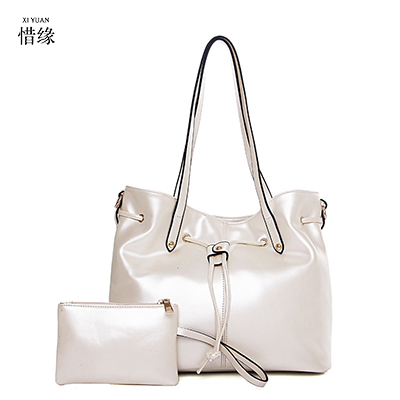 Fashion PU Leather Lady Purses 2017 Famous Brand Tote Bags Luxury High Quality Designer Printing Handbag For Women 2 piece Set