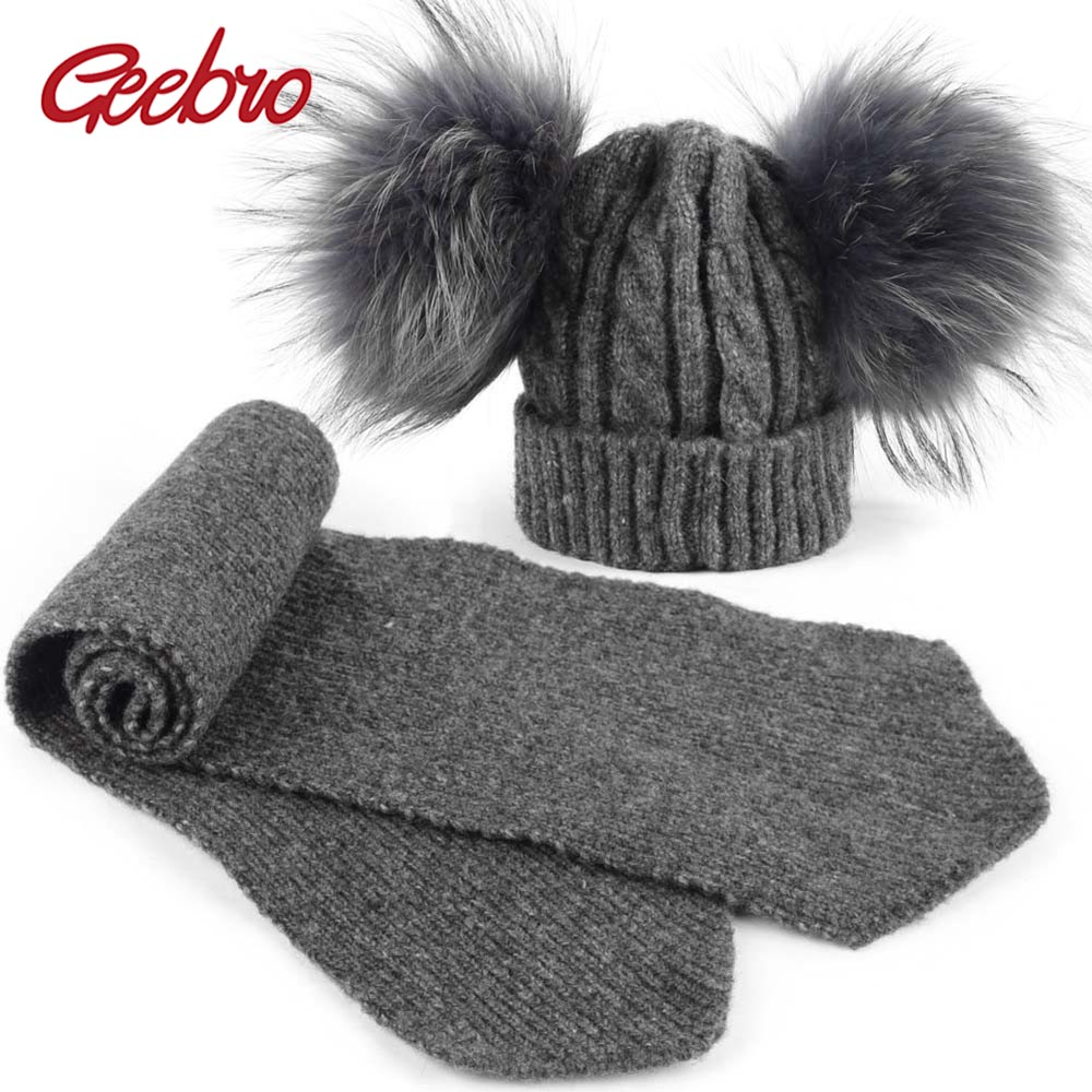 Geebro Newborn Baby Beanie And Scarf Set Winter Warm Cashmere Knitted Slouchy Beanie Hat For Girls And Boys Kids Crochet Scarf