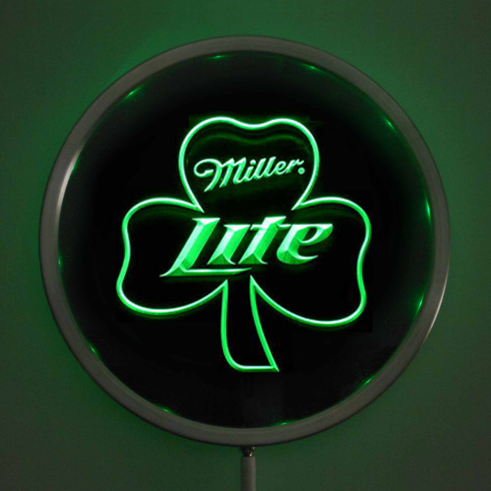 rs 0020 Miller Lite Shamrock LED Neon Round Signs 25cm/ 10