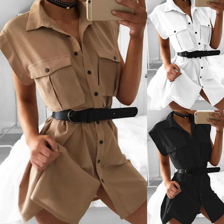 2018 Striped button sexy casual summer strap dress Long boho beach pockets women sundress vestidos Elegant daily dess female