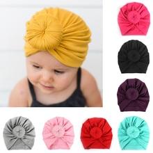 Детская хлопковая повязка на голову, Мягкая повязка на голову с кроликом, чалма с бантиком для детей, эластичная повязка на голову для девочек, детская чалма