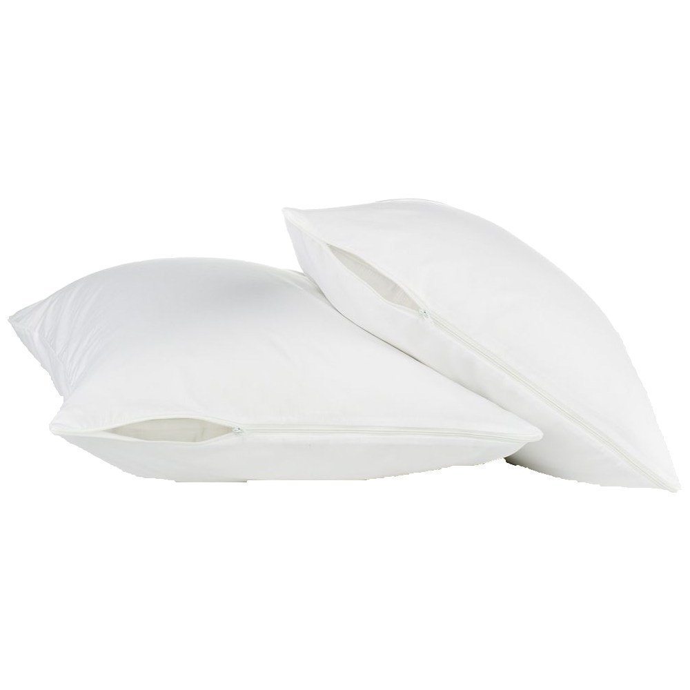Storlek 50X70CM Hypoallergen 100% Vattentät Smooth Pillow Protector Zippered Style-Set av 2 BedBug Proof Pillow Cover