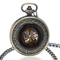 Men's Mechanical Pocket Watch 2017 Luxury Bronze Hollow Skeleton Retro Flower Face Steampunk Pocketwatch Fob Watch Antique Clock