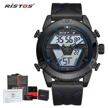 RISTOS, мужские часы с хронографом, спортивные часы, модные наручные часы, многофункциональные, с кожаным ремешком, мужские часы, мужские часы, 9368