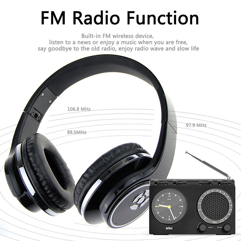 Stereo HiFi Headset Wireless Bluetooth Headphone Music Earphone Support TF card FM Radio With Mic For iPhone Xiaomi Samsung PC wireless foldable bluetooth headphone stereo headset with mic support tf card fm stereo radio tf mp3 player for iphone samsung