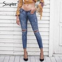 Simplee Streetwear Pearl Hole Jeans Female Casual Pocket Skinny Pencil Jean Pants Destroyed Ripped Denim Jean