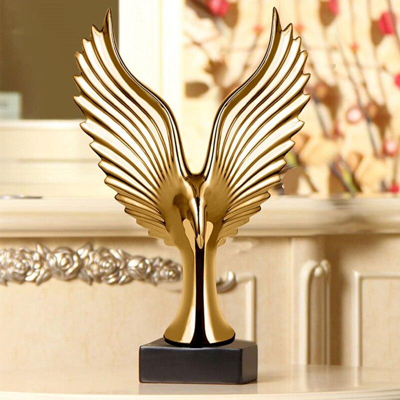 Golden Silver Creative Home Decor Eagle Wing Abstract Sculpture Decoration Figurine Decorative Resin Hawk Statue TV