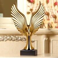 Золотой/Серебряный Творческий дом Декор Eagle Wing абстрактный Скульптура украшения фигурка декоративной смолы Hawk статуя ТВ фон