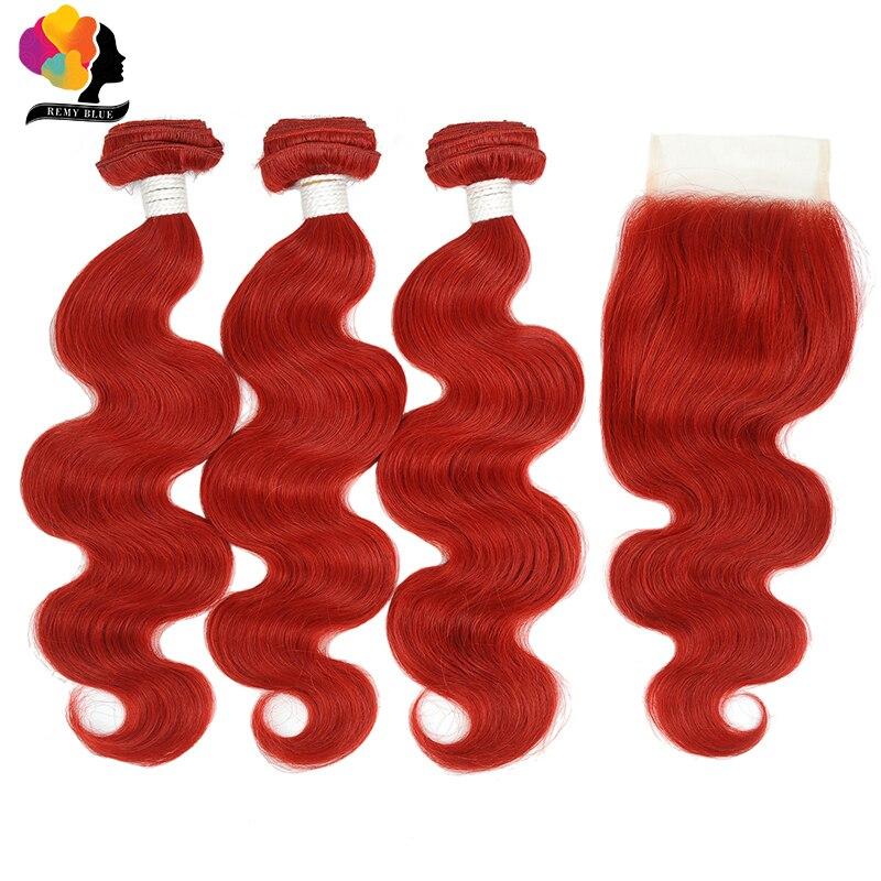 Remyblue Brazilian Human Hair Bundles With Closure Red 99J Body Wave 3 Bundles With Closure Remy Human Hair Bundles No Shedding