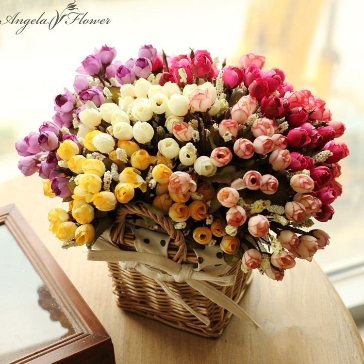Rattan Flower Baskets : Aliexpress buy new set artificial small tea rose