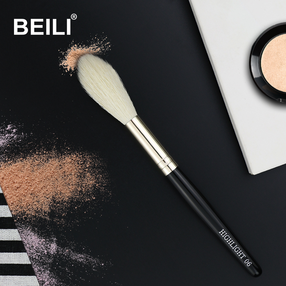BEILI 1 Piece100% Real Goat Hair Black handle Highlight Blush Long Hair Single Makeup Brushes 06# beili single 104 flat kabuki single synthetic hair face для умывальника румяна черная макияжная кисть