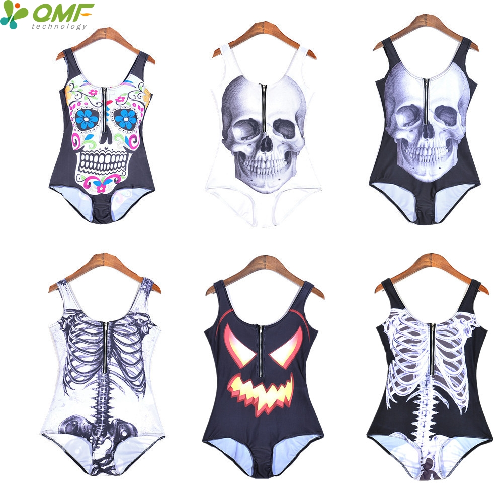 skeleton ribs one piece swimsuits halloween jack o lantern monokini swimwear sugar skull bathing - Halloween Swimsuit
