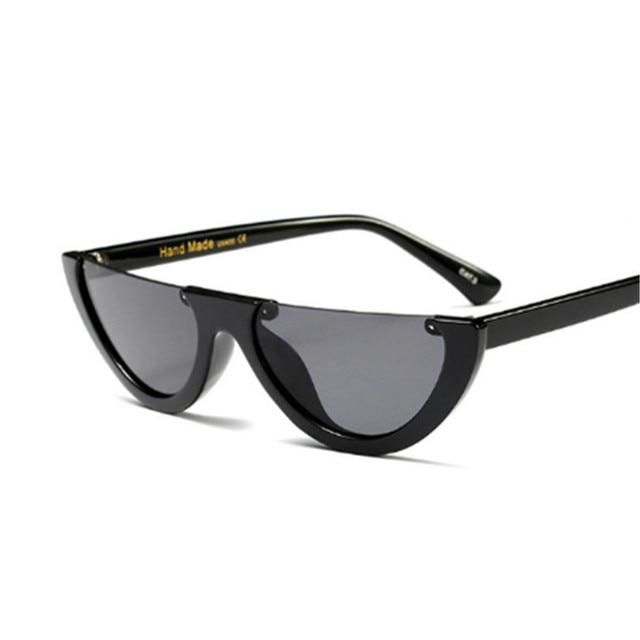 Unique Half Frame Women Cat Eye Sunglasses Brand Designer Fashion Ladies Pink Tint/Clear Lens Shades Sun Glasses 1