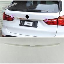 Lapetus 액세서리 exterior rear tailgate 트렁크 상단 도어 스트립 뚜껑 베젤 커버 트림 피트 bmw x1 f48 2016 2017 2018 2019
