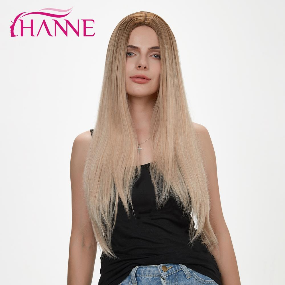 HANNE Long Straight Synthetic Wigs For Women Ombre Blonde/Black/Brown Natural Hair Wig Cosplay Middle Part Long Wig