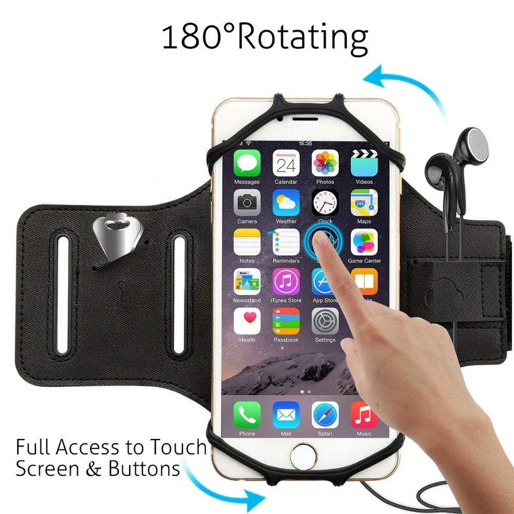Armband Phone Holder 180 Degree Rotatable With Earbud Holder Sweatproof Arm Bag For 4 To 6 Inch Smartphone For Iphone 6 7 8 Mobile Phone Accessories Cellphones & Telecommunications