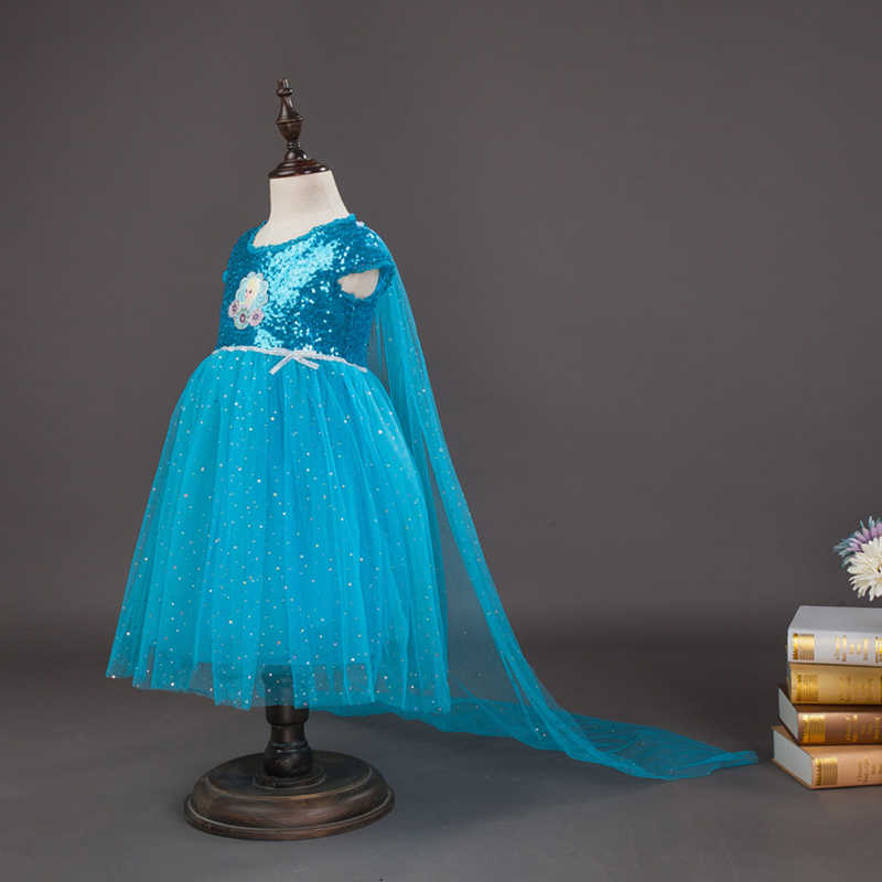 送料無料 2018 ガールの新綿裏地冷凍雪の女王エルザスパンコールプリンセスドレス子供の誕生日ドレスマント