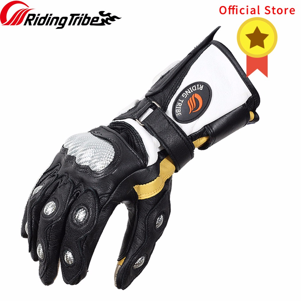 Riding Tribe Goatskin Genuine Leather Gauntlet <font><b>Motorcycle</b></font> <font><b>Gloves</b></font> <font><b>Carbon</b></font> <font><b>Fiber</b></font> Superb Protection Winter Moto Racing Guante MCS-34