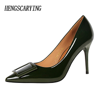 HENGSCARYING Brand 2017 New Fashion Women 9CM High Heels Buckle Stiletto Female Slim Comfortable Patent Leather
