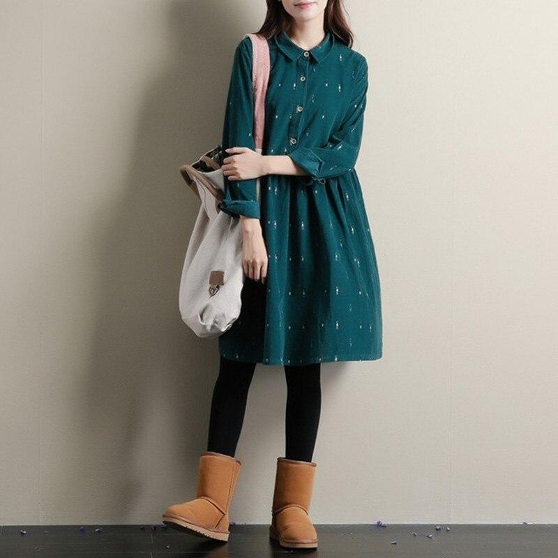 fe713723c7896 الخريف فساتين اللون الأخضر طويلة الأكمام عارضة فضفاضة زائد حجم فساتين بدوره  أسفل طوق سروال قصير القطن اللباس خط لوليتا اللباس