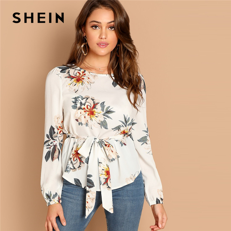 SHEIN White Flower Print Belted Top Puff Shoulder Long Sleeve Round Neck Blouse Women Casual 2019 Spring Tops And Blouses
