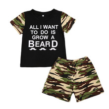 hot deal buy infant baby clothing sets black tee all tops berad t-shirt camouflage shorts 2pcs vogue bebe kids clothes sets