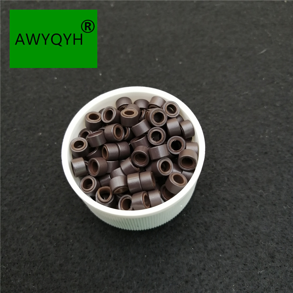 1000pcs 5mm Micro Ring Beads Silicone Bead Link microringen for Feather Human Hair Extension tools