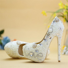 Women Fashion Pearl Wedding shoes White crystal Rhinestone Bridal Shoes  High-heeled shoes