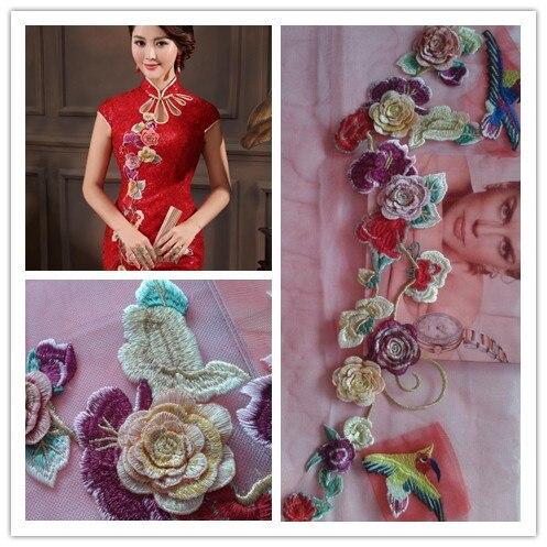 389f9e839 Corea Plum pájaros bordado púrpura flores gasa tela ropa Vestido cheongsam Vestido  largo moda desfile de moda dres