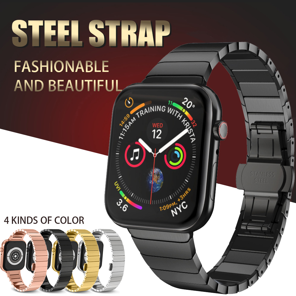 Rostfritt stålrem för Apple Watch Band 42mm 38mm 4 3 2 1 Butterfly Buckle Metal Armband för iWatch Series 4 5 40mm 44mm