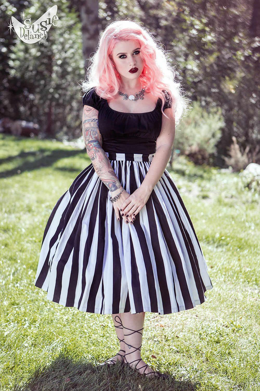 d148a4df1 30- women vintage 50s goth black white stripe jenny skirt large plus size  swing skirts