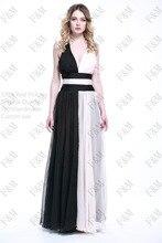 2016 FM Spezielle Kleid V-ausschnitt Bodenlangen Sexy Criss-cross Formalen Schwarzen Und Weißen Lange Abendkleid Benutzerdefinierte gemacht
