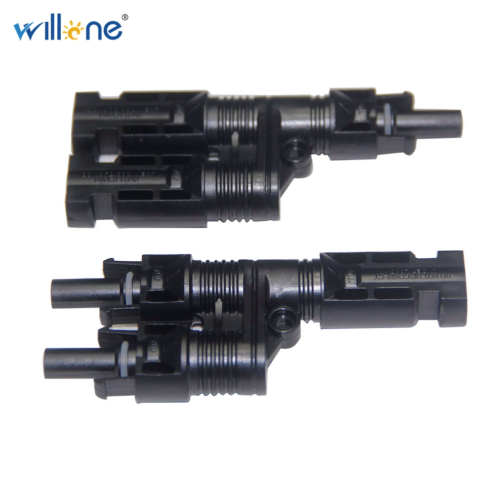 Willone 2 pair Free shipping MC4 T branch connector mc4 solar connector