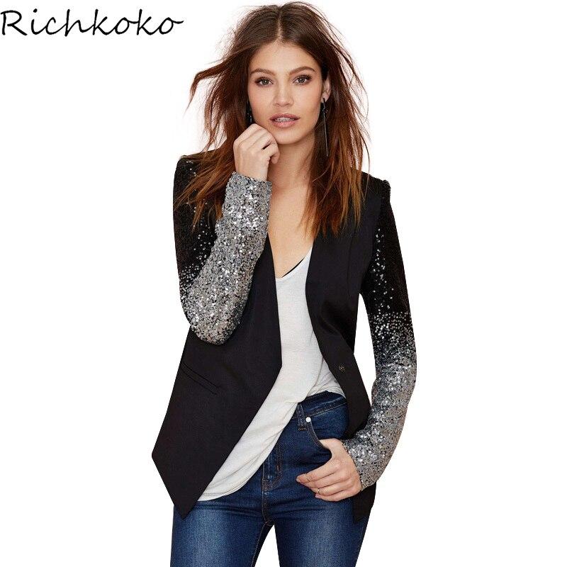 Richkoko 2017 Casual Slim Female Blazer Suit Jacket Office Single Button Suit Blazer Black PU Contrast