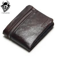 Genuine Cow Leather Mens Wallets Brand Logo Zipper Design Bifold Short Men Purse Male Clutch With
