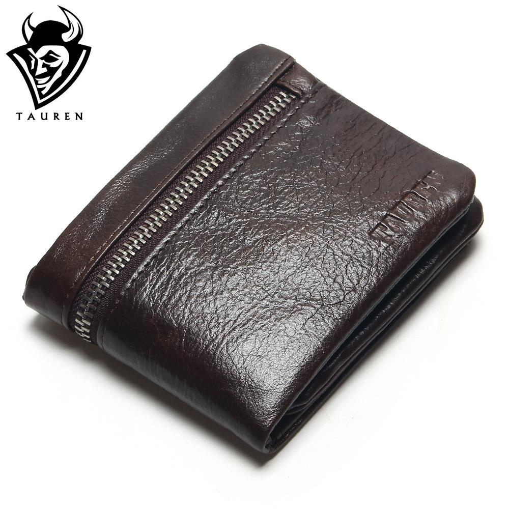 TAUREN Genuine Leather Mens Wallets Brand Logo Zipper Design Short Men Purse Male Clutch With Card Holder Coins Purses Wallet banlosen brand men wallets double zipper vintage genuine leather clutch wallets male purses large capacity men s wallet