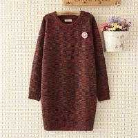 Plus size 4XL loose Autumn & winter Cashmere long women Plaid pullovers sweater 2017 casual O Neck long sleeve wool pull femme