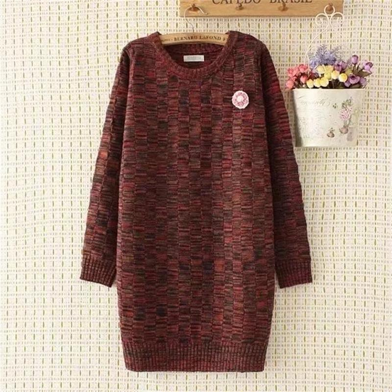 Plus size 4XL loose Autumn & winter Cashmere long women Plaid pullovers sweater 2017 casual O-Neck long sleeve wool pull femme rugod 2018 new knitted winter dress women pullovers fashion sweet solid o neck long sleeves pull femme christmas sweater dress