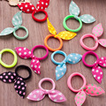50pcs Girls Hair Band Mix Styles Polka Dot Bow Rabbit Ears Elastic Hair Rope Ponytail Holder High Quality Rubber Bands Hair