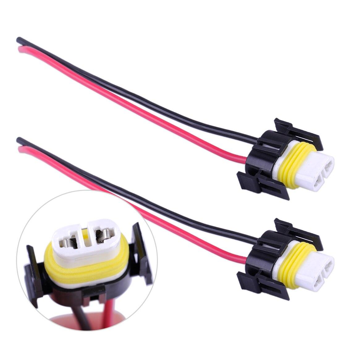Conector de mazo de cables del faro 2 piezas Coche Moto Adaptador hembra Enchufe de cableado Base de la l/ámpara Soporte Cable Conector para H8 H9 H11
