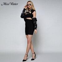 Мисс воды 2018 Новый Для женщин платья повязки знаменитости Вечеринка летнее платье черный WRed рукавов выдалбливают Bodycon Vestido