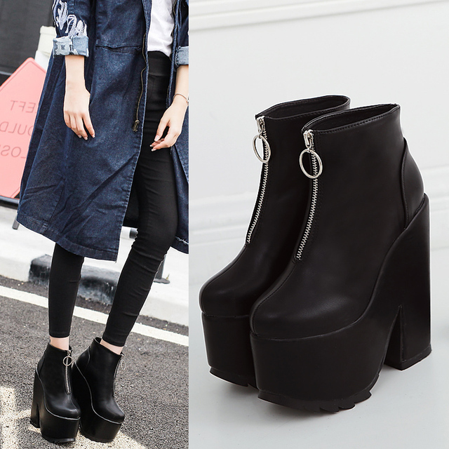 0ab254b20b4 Fashion Autumn Winter Platform Ankle Boots Women Zip Thick Heel Martin Boots  Ladies Worker Boots Black