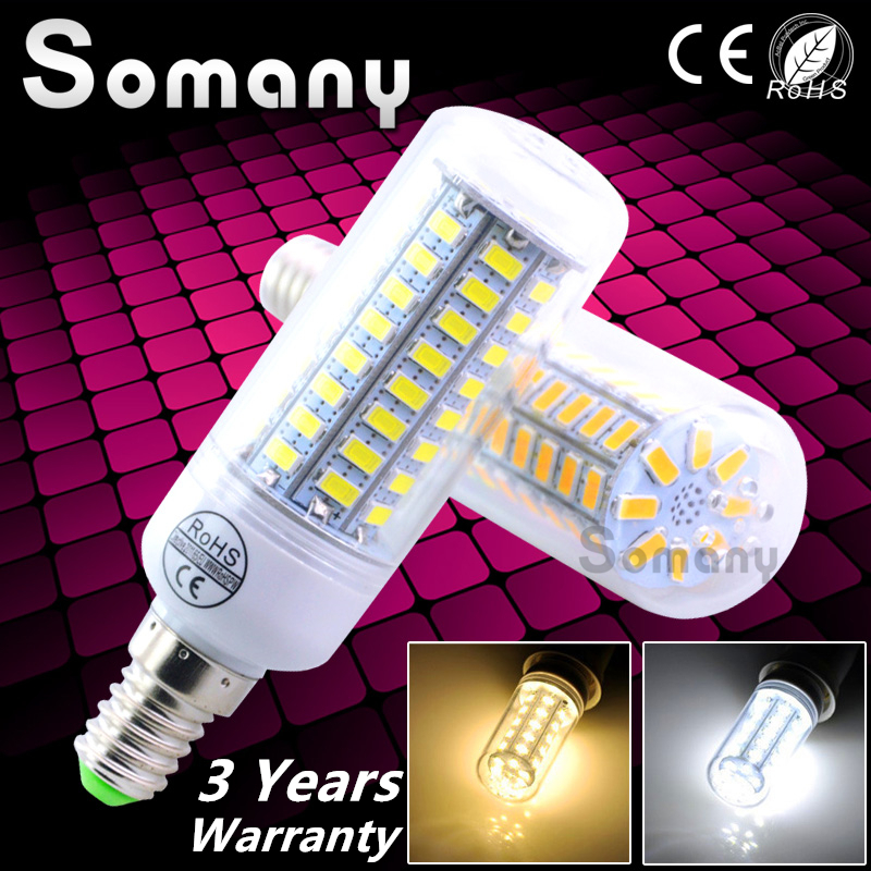 3 Yrs Wattanty Bombillas LED Bulb E14 Light SMD5730 Lampara 24-72 LEDs Lampada Corn Lamp Ampoule Chandelier Candle Luz Spotlight