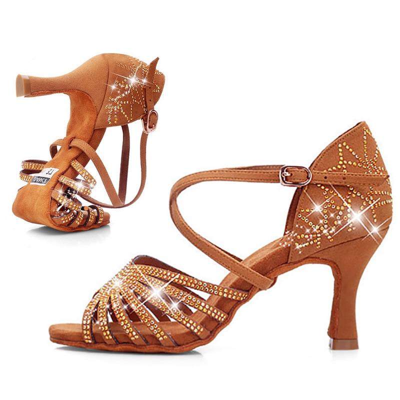 USHINE BD211 Heel 7.5cm Silk Satin Apricot Brown Latin Dance Shoes Champagne Color Rhinestone Salsa Shoes Woman Zapatos De Mujer